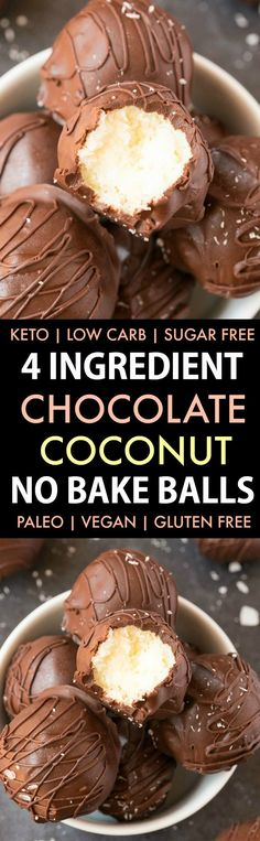 4-Ingredient Paleo Vegan Chocolate Coconut No Bake Balls (Keto, Low Carb, Sugar-Free)- an easy recipe for healthy chocolate coconut energy bites (bliss balls!)- A quick and easy protein-packed snack! #ketorecipe #energybites #energyballs #blissballs #paleorecipe #vegan #ketosisrecipe | Recipe on thebigmansworld.com
