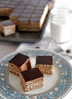 Madjarica, popular Croatian cake, moist, layers of chocolate filling and pastry