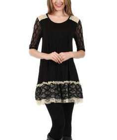 Look what I found on #zulily! Black & White Lace Three-Quarter Sleeve Tunic #zulilyfinds