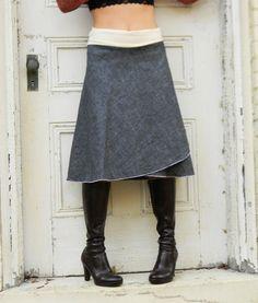 Organic Denim Wrap Skirt Hemp and Organic von VioletStarCreations