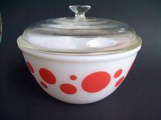 Vintage Hazel Atlas Orange Dot Bowl - 8 Inch Bowl with Lid HTF Very Nice!