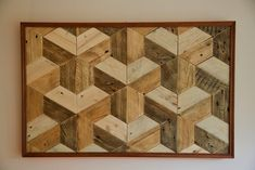 Cuadro geométrico basado en las figuras de Escher hecho íntegramente con madera de palet. Geometric picture from Escher's designs made 100% from pallet wood Wood Pallets, Rugs, Home Decor, Wooden Figurines, Home, Blue Prints, Bedroom, Farmhouse Rugs, Decoration Home