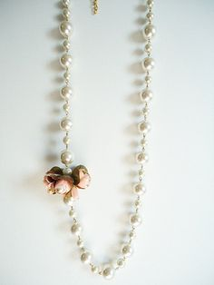 Long Pearly Necklace, Floral Big Pearly Necklace, Pearl Necklace