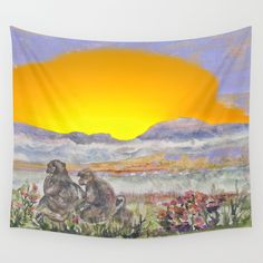 African Sun Family Wall Tapestry by crismanart Wall Tapestries, Wall Hangings, Tapestry, Outdoor Walls, Indoor Outdoor, Family Wall, Tablecloths, Hand Sewn, Vivid Colors