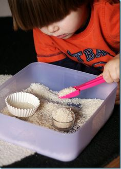 Rice Scooping ~ Tot Tray {46 months}
