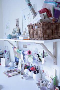 desk organization - love the hanging washi tape (! Home Organisation, Craft Organization, Organizing Ideas, Ribbon Organization, Organising, Space Crafts, Home Crafts, Craft Space, Craft Desk