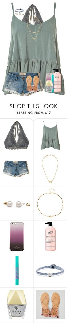 """sorry for being so inactive... "" by preppy-renee ❤ liked on Polyvore featuring Hollister Co., Topshop, Tory Burch, Ela Rae, Kate Spade, philosophy, tarte, Lokai, Kendra Scott and American Eagle Outfitters"