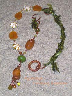 """Fun in the Sun""- cultured sea glass necklace - a ZnetShows design team challenge"