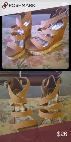 Lace crochet wedges Tan GB wedges. Lace crochet on bottom . Unworn, tags still on! Will make your legs look amazing! Gianni Bini Shoes Wedges