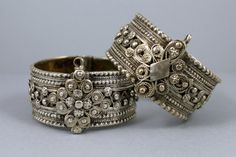 Master and Apprentice: Here are two silver Palestinian bracelets which are interesting from the perspective of understanding how the silversmiths worked.  The left was made by a master and the right by an apprentice in the same workshop.