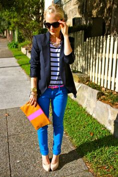 Navy blue & cobalt with a touch of hot pink