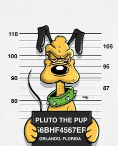 "Disney's Fall from Grace: ""Pluto the Pup"" as ""Bad Guys"" mug shots series by graphic illustrator Jose Duran (via DesignFaves 2014-11 ) • official site: www.mebzart.com"