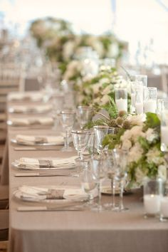 Cream and Taupe Wedding Inspiration and Ideas - taupe wedding table cloth Beach Wedding Tables, Seaside Wedding, Wedding Table Settings, Wedding Reception, Taupe Wedding, Green Wedding, Wedding Colors, Wedding Tablecloths, Wedding Linens