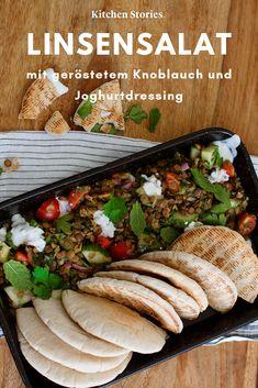 Lentil salad with roasted garlic and yogurt dressing Recipe Lentil Salad, Kitchen Stories, Lunch To Go, Cold Meals, Dressing Recipe, Roasted Garlic, Lentils, Paleo Recipes, Entrees