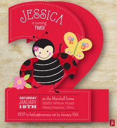 Custom Kid's Birthday Invitation Ladybug Party | Personalized Die Cut Party Invitation | Birthday Invite for a Ladybug Party