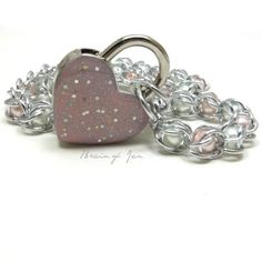 Locking Chainmail Choker Collar Pink and White Pearls Pink Heart Lock | BrainofJen - Jewelry on ArtFire