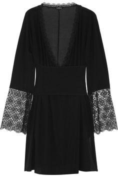 Lace-trimmed silk-blend chiffon robe by La Perla #lingerie