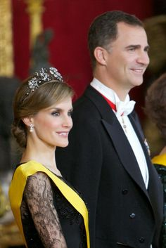 Spanish Royal Family attended a dinner at The Royal Palace  in Madrid in honour of Mexican President Enrique Pena Nieto and his wife Angelica Rivera .