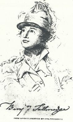 Signed Pencil Sketch of Benjamin Tallmadge, wearing the helmet of the 2d Continental Dragoons, by Colonel Trumbull.