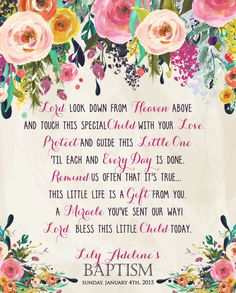 Floral Baptism Poem. Flower Baptism Prayer by MakinMemoriesOnPaper