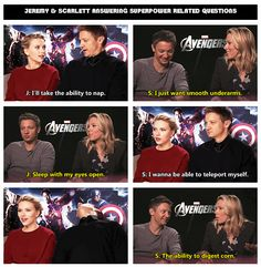 Jeremy Renner & Scarlett Johansson, answering superpower related questions ..