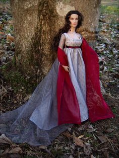"""Sunset Snowfall"" 1805 Regency Ball Gown and Shawl for Tonner Dolls - by Morgan May @ Stardust Dolls - http://www.stardustdolls.com"