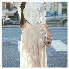 Beautiful cream skirt white shirt Fashion  @mariaandamelia's Instagram photos   Webstagram - the best Instagram viewer