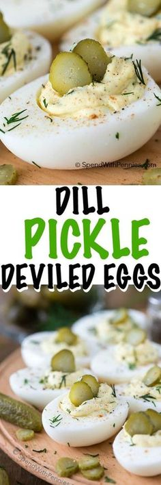 Deviled Eggs are the perfect addition to any party or gathering and a staple at our ham dinners!These are the best deviled eggs Ive ever had with the addition of tangy dill pickles, fresh dill and a splash of pickle juice. Snacks Für Party, Appetizers For Party, Appetizer Recipes, Egg Recipes, Cooking Recipes, Dill Recipes, Tapas, Ham Dinner, Best Deviled Eggs