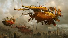 Industrial/steampunk-ish ships from Ian McQue