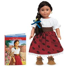 1824:  This 6-inch doll brings Josefina's (ho-seh-FEE-nah) world to life on a smaller scale. She arrives dressed in a traditional New Mexican outfit. Plus, she comes with Meet Josefina, a miniature version of the book that tells Josefina's story of growing up in 1824.