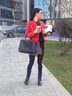 Red leather jacket Printed skirt Black and white skirt Prada bag Rock chic outfit