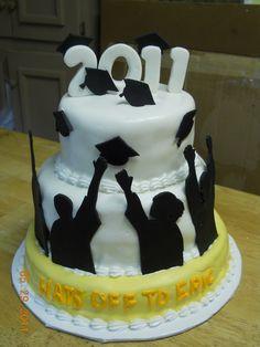 Cool graduate silhouette Graduation cake.