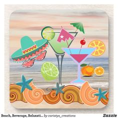 Beach, Beverage, Relaxation Themed Beverage Coaster Party Napkins, Party Plates, Cold Drinks, Beverages, Boat Decor, Outdoor Dining, Outdoor Decor, Custom Coasters, Kitchen Dishes