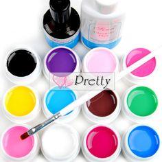 12pc UV Gel Cover Pure Colors Soak Off UV Top Coat Nail Art Tips Extension Deco #Unbranded
