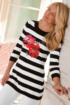 Venice Top - Scoop Neck Sweater, Rib Knit, Red Poppies   Soft Surroundings