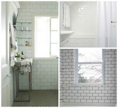 vintage subway tile bathroom | ... tile with white gout from chez larrsson bottom right white subway tile