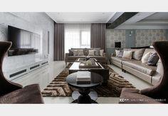 霧藍光邸_美式風設計個案—100裝潢網 Decor, Furniture, Table, Home, Conference Room Table, Couch, Sectional Couch, Home Decor, Room
