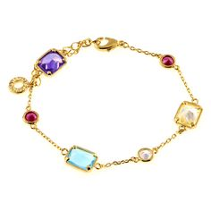 """This simple chain bracelet is sweet and classic with its multi colored cubic zirconias stationed along the length of it. Length: 6"""" #MORANA"""