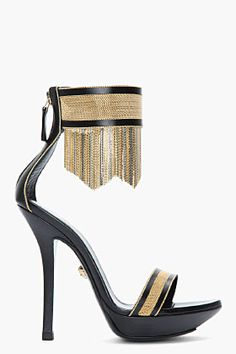 VERSACE Black  Gold Leather Fringed Ankle-Strap Sandals #fashion #Sandals #gold #black #heels
