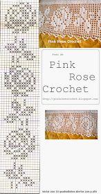 Esta é mais uma Barra para Toalhas   com Motivo Rosa em Crochê Filet.   Barrado Rosa Perfeita,  feito por mim!                      ...