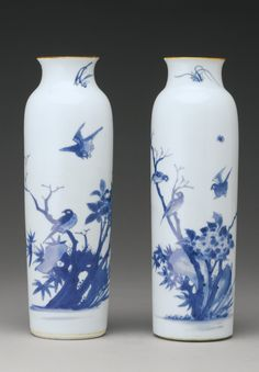 A pair of blue and white sleeve vases, Transitional period, 17th century