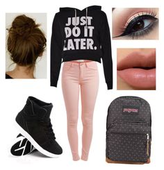 Do It Later// Back To School by daniegirl14 on Polyvore featuring polyvore, мода, style, Pieces and JanSport