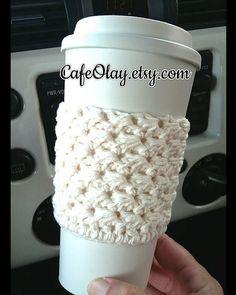 Items similar to Crochet coffee cozy made with cotton. Crochet coffee sleeve, crochet coffee cozie on Etsy Crochet Gifts, Crochet Yarn, Easy Crochet, Crochet Cozy, Crochet Purses, Knitting Projects, Crochet Projects, Yarn Projects, Crochet Ideas