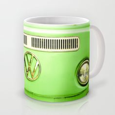 Summer of Love - Groovy Green Mug by Olivia Joy StClaire - $15.00 VW, volkswagen, vintage VW, retro, green, smile, coffee cup, holiday gift, under $20, stocking stuffer, auto