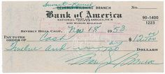 Marilyn Monroe handwritten signed check