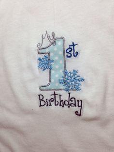 Snowflake First Birthday Onesie Infant by SewSpoolishCreations