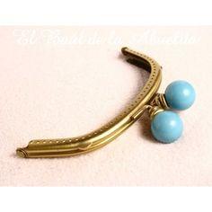 Boquilla oro viejo con cierre bolas azules 12,5 x 5cm (para coser)