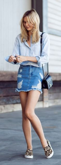 This superflattering denim miniskirt needs little else to make a game-changing outfit.