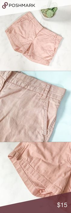 J. Crew Dusty Pink Chino Shorts Pre-loved and in good condition. Showing some signs of wear but no stains, snags, or tears upon inspection. (0293)   PRODUCT DETAILS: •Size: 9 / 10 •Colors: Dusty Pink •Made in Vietnam •Measurements: Length-12inch Inseam-4inch Rise-9inch •100% Cotton •Machine Wash •Zipper and Slid Clasp Closure •3 Pockets •Hits Under Belly Button  Tags: masculine short cargo hiking outdoor vintage rose college campus school J. Crew Shorts Bermudas