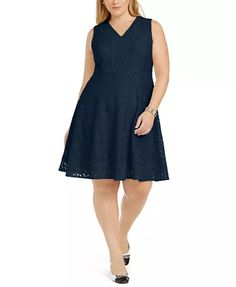 Macy's up to Fit Flare Dress, Fit And Flare, Plus Size Dresses, Dresses For Work, Plus Size Stores, Review Dresses, Lace Fabric, Elegant, Fitness